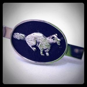 Beaver Groundhog Fisher Tie Clip Silver Black